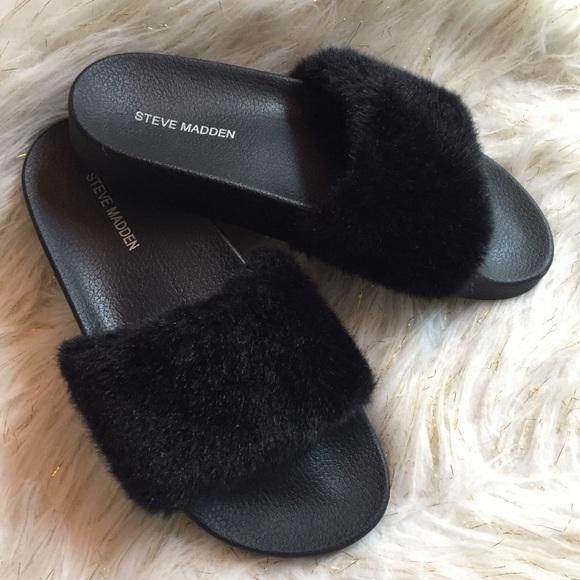 d0ca68e674c Steve Madden Black Faux Fur Slides 8